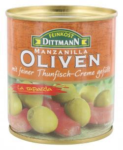 Feinkost Dittmann Spanische grüne Oliven gefüllt mit Thunfisch-Creme (85 g) - 4002239422802