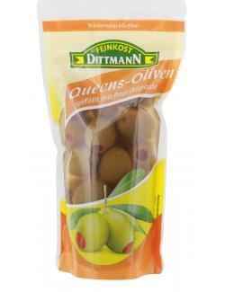 Feinkost Dittmann Grüne Queens-Oliven gefüllt mit Paprikapaste (125 g) - 4002239821209