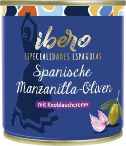 Ibero Spanische grüne Manzanilla Oliven gefüllt mit Knoblauchcreme (85 g) - 4013200555559