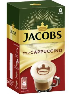 Jacobs Cappuccino, 8 Sticks mit Instant Kaffee
