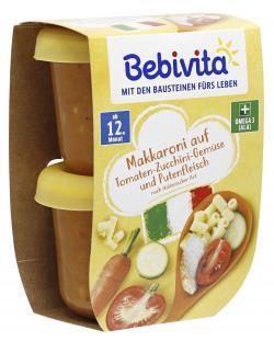 Bebivita Makkaroni auf Tomaten-Zucchini-Gemüse und Putenfleisch (2 x 250 g) - 4018852009924
