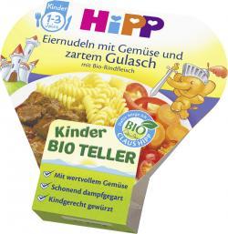 Hipp Eiernudeln mit Gemüse und zartem Gulasch mit Bio Rindfleisch
