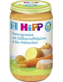 Hipp Buttergemüse mit Süßkartoffelpüree und Bio-Hühnchen