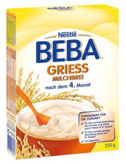 Nestlé Beba Milchbrei, Grieß, nach dem 4. Monat, Faltschachtel (250 g) - 7613034284662