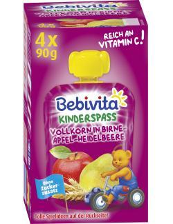 Bebivita Kinder-Spass Vollkorn in Birne-Apfel-Heidelbeere (4 x 90 g) - 4018852018889