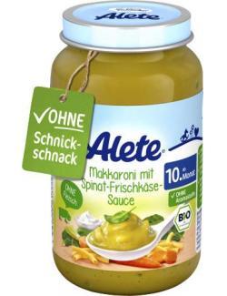 Alete Makkaroni mit Spinat-Frischkäse-Sauce