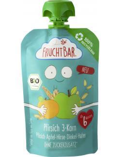 FruchtBar Bio Fruchtpüree Pfirsich 3-Korn Pfirsich, Apfel, Hirse, Dinkel, Hafer