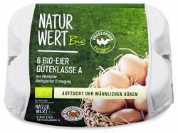 NaturWert Bio Eier Bruderhahn Aufzucht Güteklasse A Größe M/L