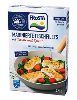 Frosta Marinierte Fischfilets mit Tomate und Spinat