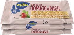 Wasa Knäckebrot Sandwich Käse, Tomate und Basilikum