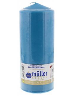 Müller-Kerzen Stumpenkerze aqua (1 St.) - 4009078392297