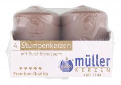 Müller-Kerzen Stumpenkerzen kaschmir (4 St.) - 4009078503815