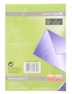 Paperfoxx Briefumschläge C6 ohne Fenster weiß (100 St.) - 4005437803398