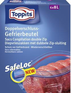 Toppits Doppelverschluss-Gefrierbeutel mit Ziploc 8 Literiter (6 St.) - 4006508185740
