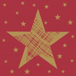 Duni Servietten Tissue 24x24cm Shining Star red