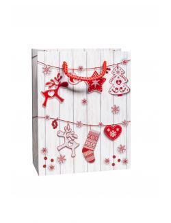 Duni Geschenktüte Santas Reindeer 17,8x22,9x9,8cm