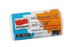 Quickpack Müllbeutel 5 Liter mit Griff transparent