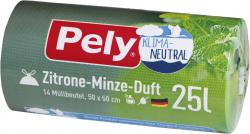 Pely Zugband-Müllbeutel 25 Liter Zitrone-Minze-Duft