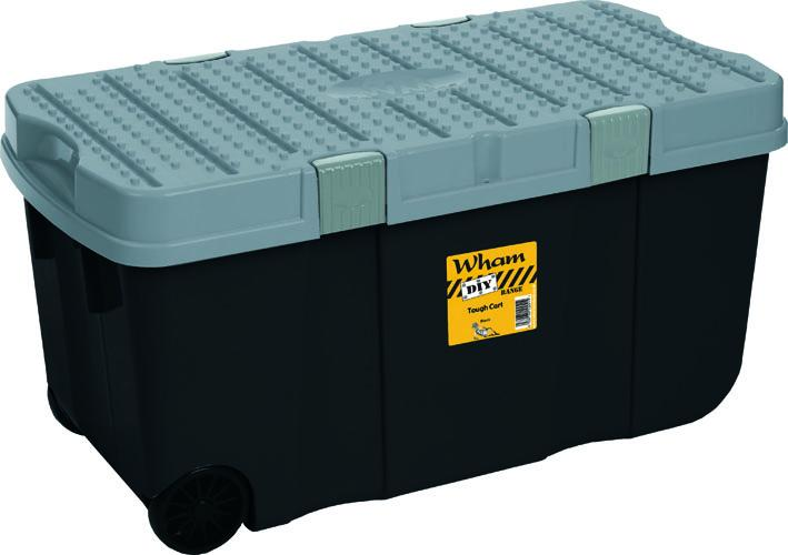 wham xxl aufbewahrungsbox mit rollen deckel schwarz box ebay. Black Bedroom Furniture Sets. Home Design Ideas