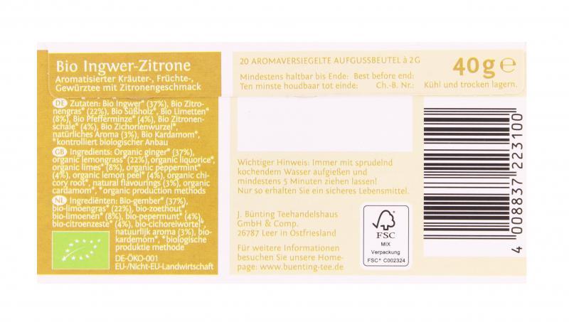 Bünting Bio-Ingwer-Zitrone