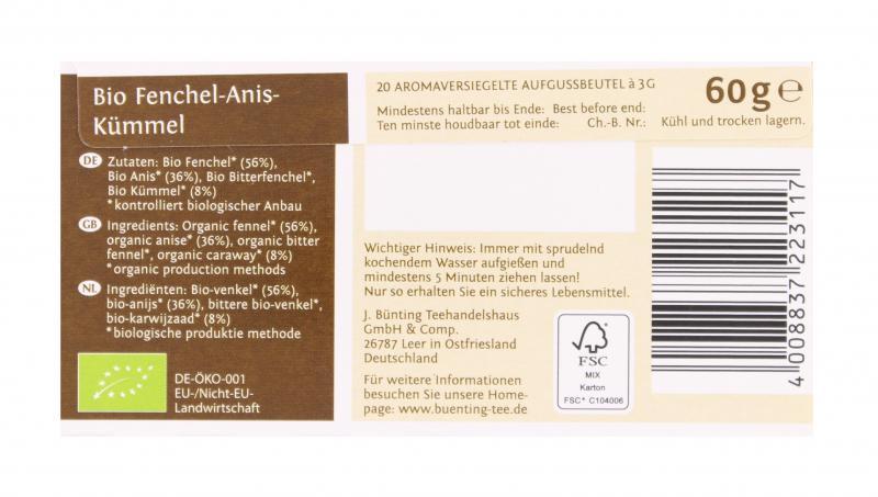 Bünting Bio Fenchel-Anis-Kümmel
