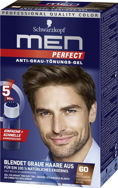 Schwarzkopf Men Perfect Anti-Grau Tönungs-Gel 60 natur mittelbraun