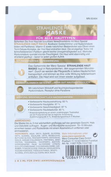 Merz Spezial Strahlende Haut Maske Hyaluronsäure und Goldschimmer