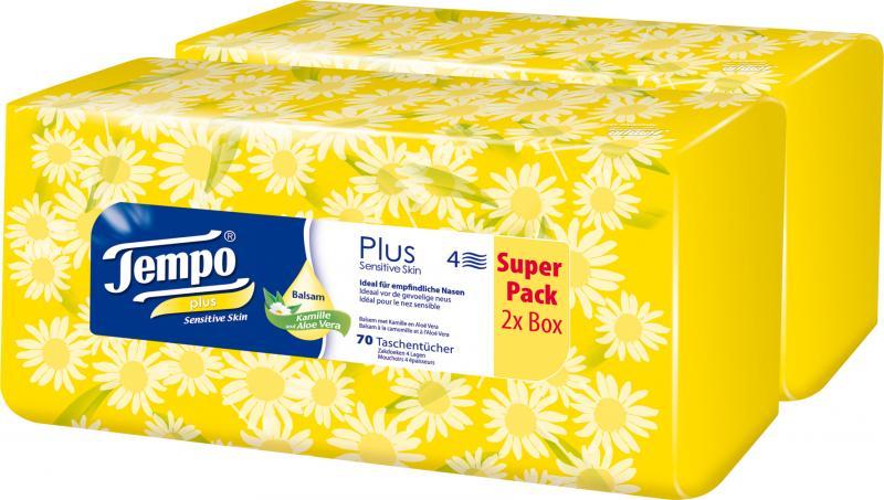 Tempo Plus Taschentücher Balsam Kamille und Aloe Vera