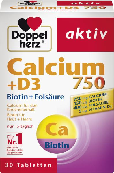 Doppelherz aktiv Calcium 750 + D3 + Biotin + Folsäure