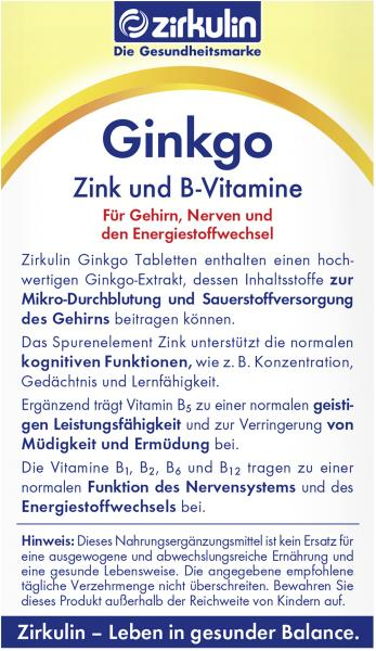 Zirkulin Ginkgo-Tabletten