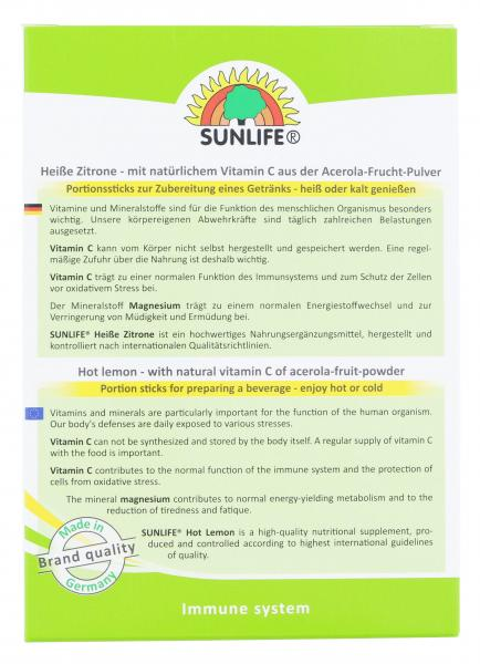 Sunlife Heiße Zitrone + Magnesium Portionssticks