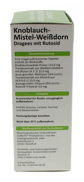 Sunlife Knoblauch-Mistel-Weißdorn Dragees
