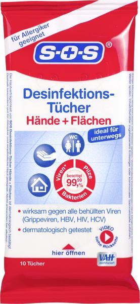 SOS Desinfektionstücher Hände + Flächen