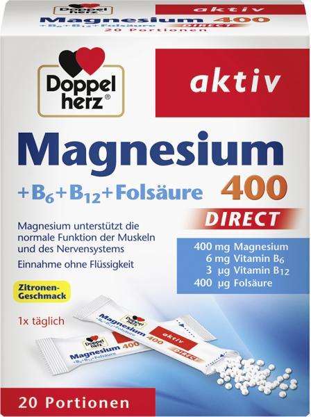 Doppelherz aktiv Magnesium 400 + B6 + B12 + Folsäure Direct