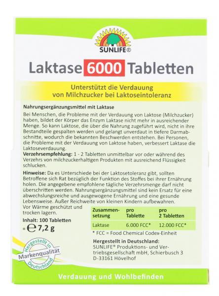 Sunlife Laktase 6000 Tabletten