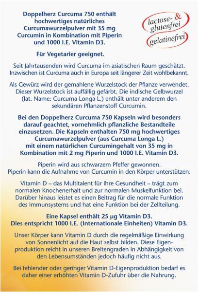 Doppelherz aktiv Curcuma 750 mit Curcumin + Vitamin D3