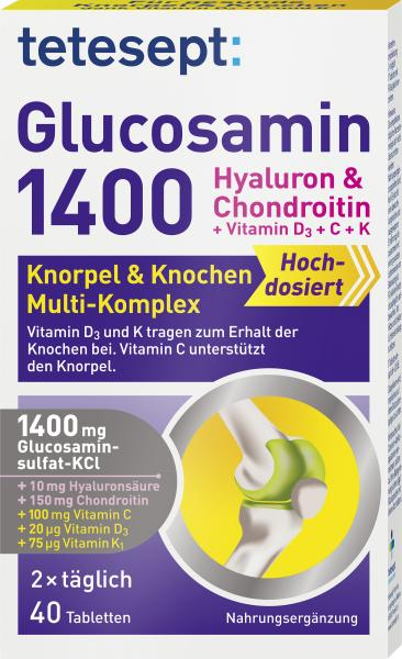 Tetesept Glucosamin 1400 Hyaluron & Chondroitin Knorpel & Knochen