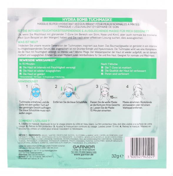 Garnier Skin Active Hydra Bomb Tuchmaske Grüntee