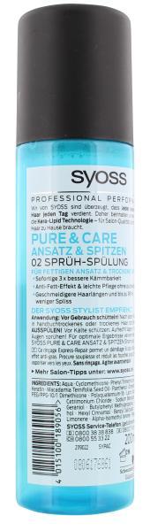Syoss Pure & Care Ansatz & Spitzen Sprühspülung