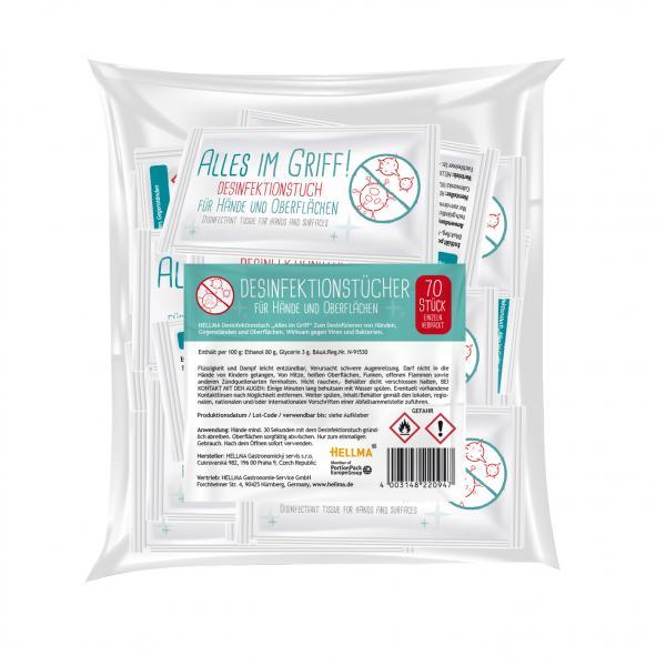 Hellma Desinfektionstücher für Hände und Oberflächen