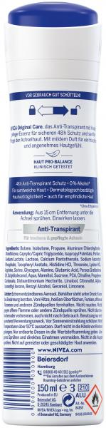 Nivea Deo Spray Original Care Anti Transpirant