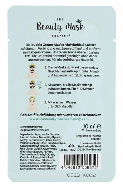 The Beauty Mask Company Bubble Creme Maske Aktivkohle & Lakritz