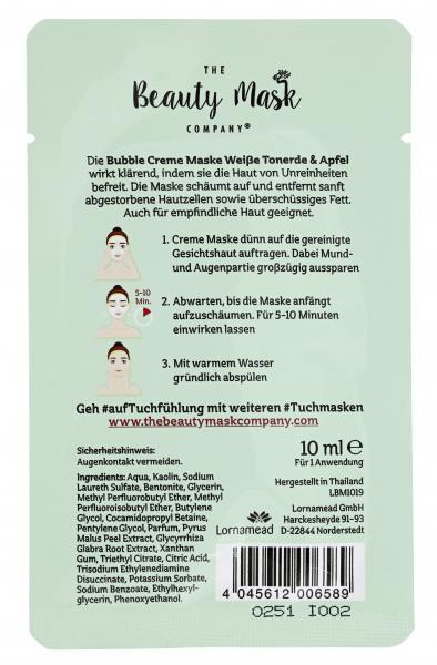 The Beauty Mask Company Bubble Creme Maske Weiße Tonerde & Apfel