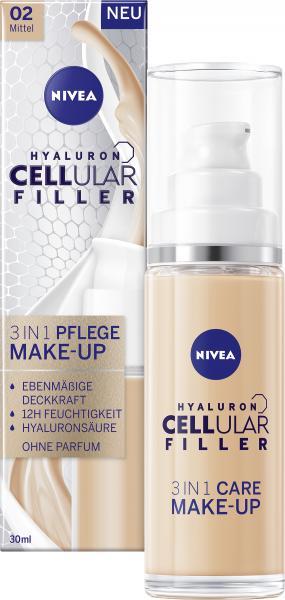 Nivea Hyaluron Cellular Filler 3in1 Pflege Make-Up 02 mittel