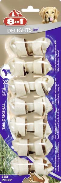 8in1 Delights Kauknochen mit Rindfleisch XS