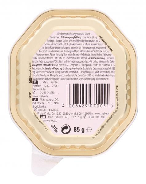 Sheba Genuss in Gelee Geschnetzeltes mit Lachs