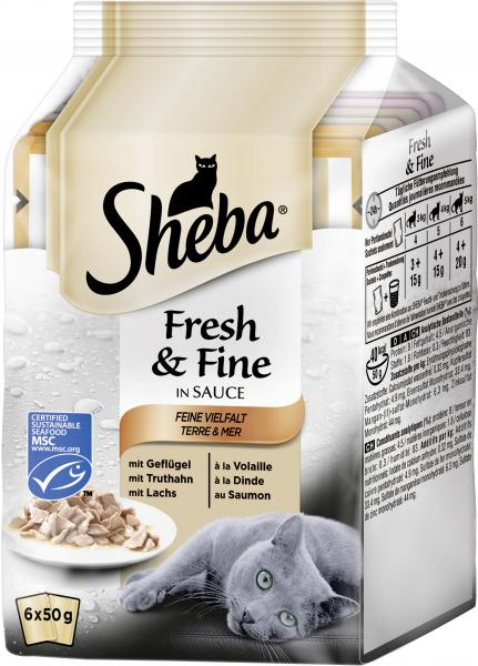 Sheba Fresh & Fine Feine Vielfalt mit Geflügel, Truthahn & Lachs