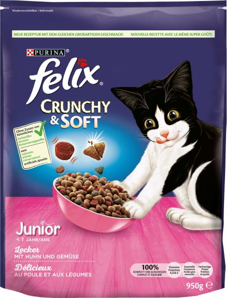Felix Crunchy & Soft Junior mit Huhn und Gemüsenote