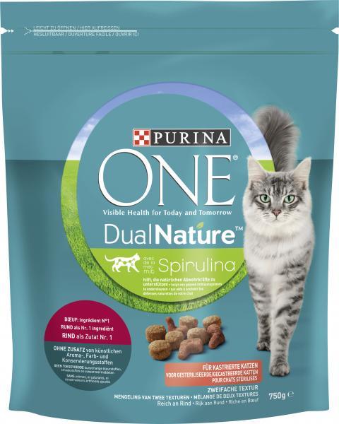 Purina One Dual Nature Spirulina mit Rind für kastrierte Katzen