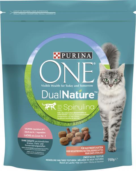 Purina One Dual Nature Spirulina mit Lachs für kastrierte Katzen
